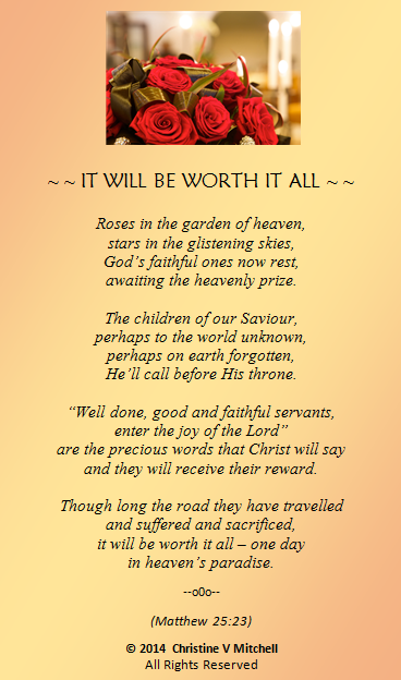IT WILL BE WORTH IT ALL (FOR FB)