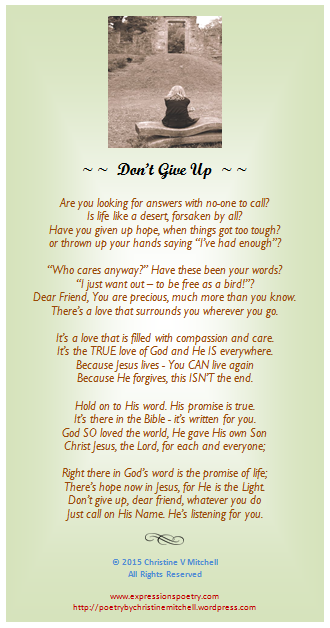 Dont Give Up Christines Poetry Reflections